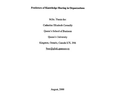 Attached image of Predictors of Knowledge Sharing in Organizations