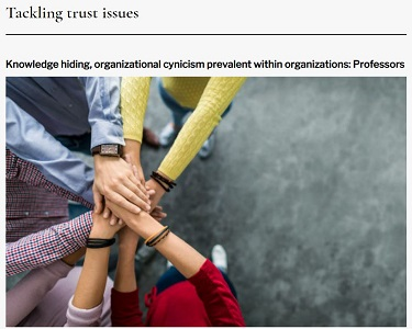 Attached image of Tackling trust issues: Knowledge hiding, organizational cynicism prevalent within organizations – Professors